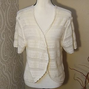 TAHARI Cream Crochet Summer Cardigan XL